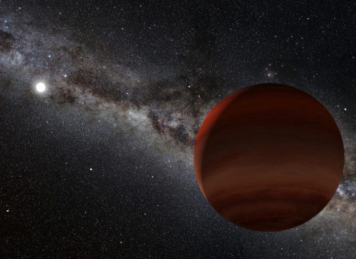 Artist's impression of the oldest known wide-separation white dwarf and cold brown dwarf pair.