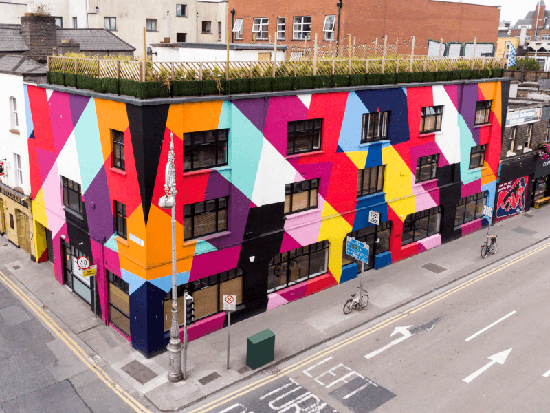 A large, colourful building.