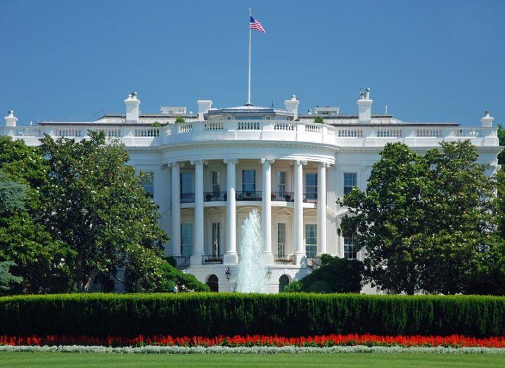The White House in Washington DC on a sunny day.