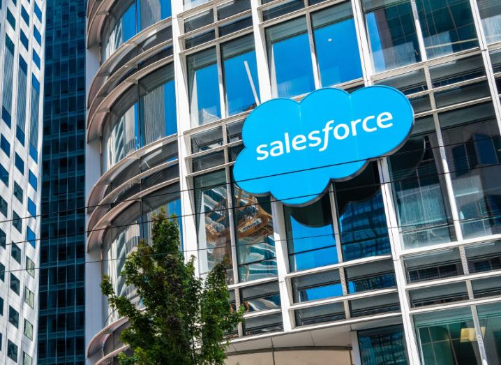 Salesforce logo displayed on the company headquarters in San Francisco.