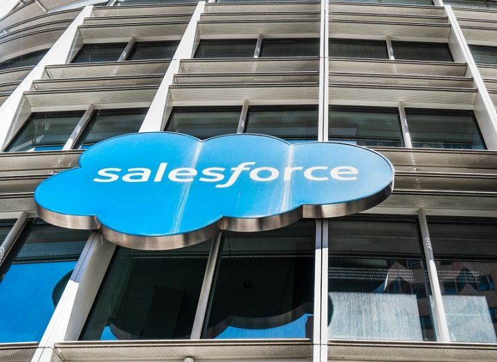 Salesforce logo on the side of an office building.