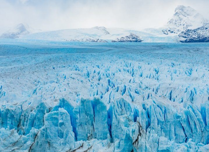 Huge glacier expanding a long way into the distance.