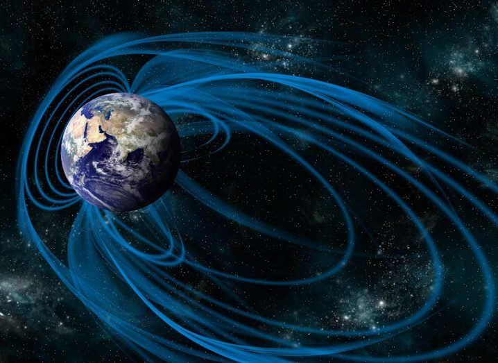 An artist's depiction of the magnetic lines of force surrounding Earth.