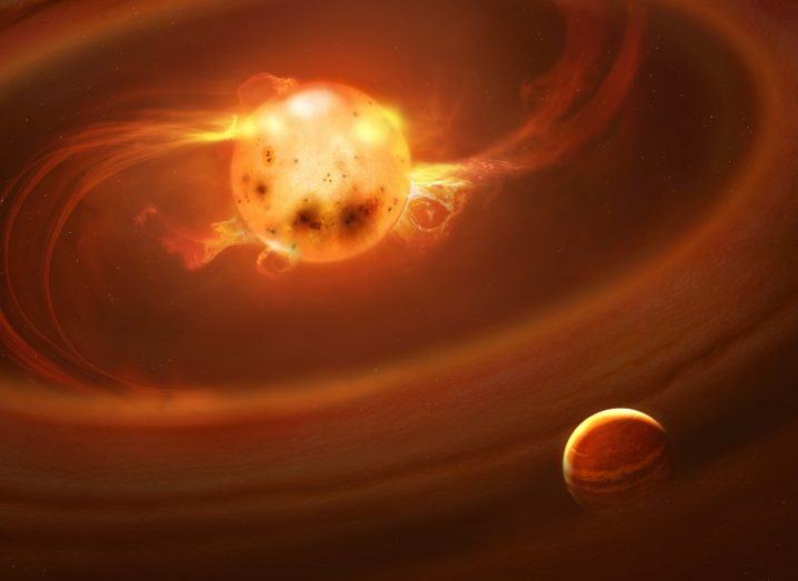Artist's impression of matter creating new-born stars.