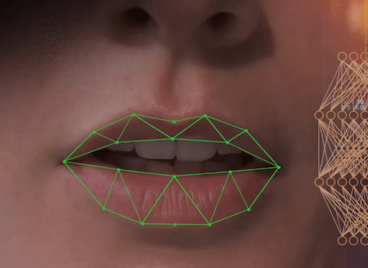 Close-up image of a face with green lines marking out the shape of the lips.