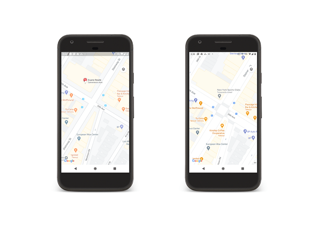 Comparison of the older street view of Google maps (left) and the newer version (right) with clearer pedestrian information.