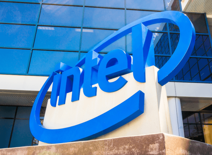 The Intel logo displayed outside of an office building.