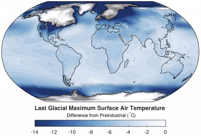 A global map showing temperature differences compared to preindustrial times with dark blue showing cooler temperatures.