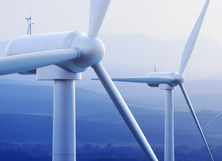A close-up image of wind turbines.
