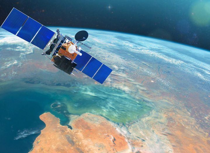Space communications satellite in low orbit around the Earth.