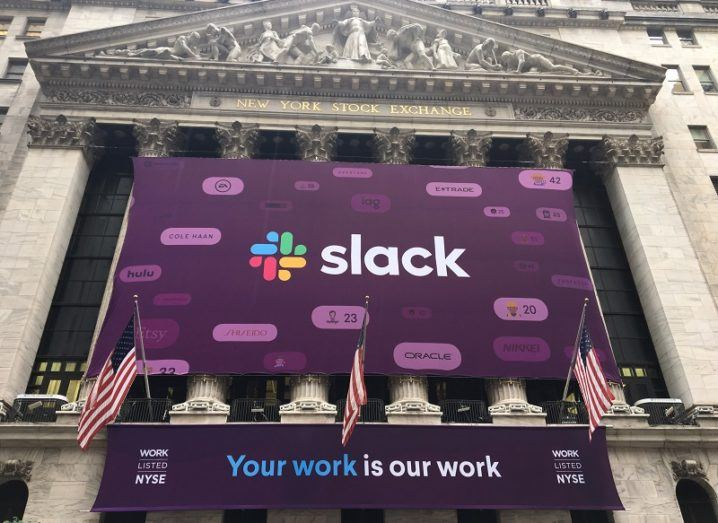 The Slack logo and banner outside the New York Stock Exchange on the day of its IPO.