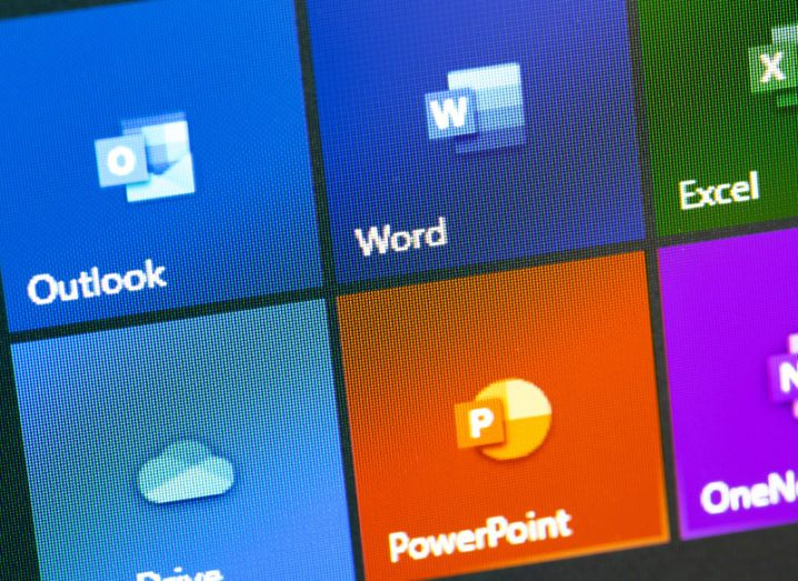 Microsoft Office icon apps on the display on a screen.