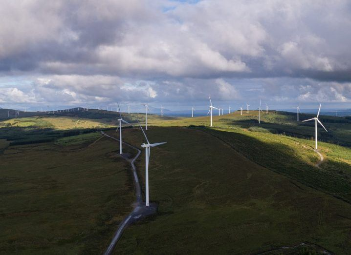 Large wind farm in Ireland spread over a great distance.