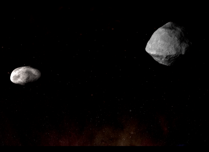 Artist's rendering of the two asteroids, one about a quarter the size of the other, on a dark starry background.