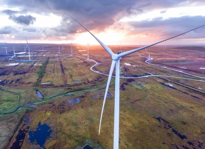 Drone image of a large onshore windfarm at dusk.