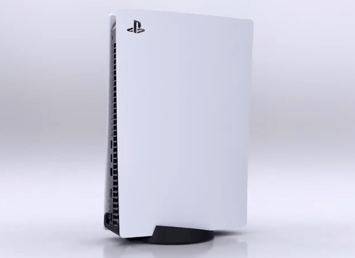 The PS5 console against a grey background.