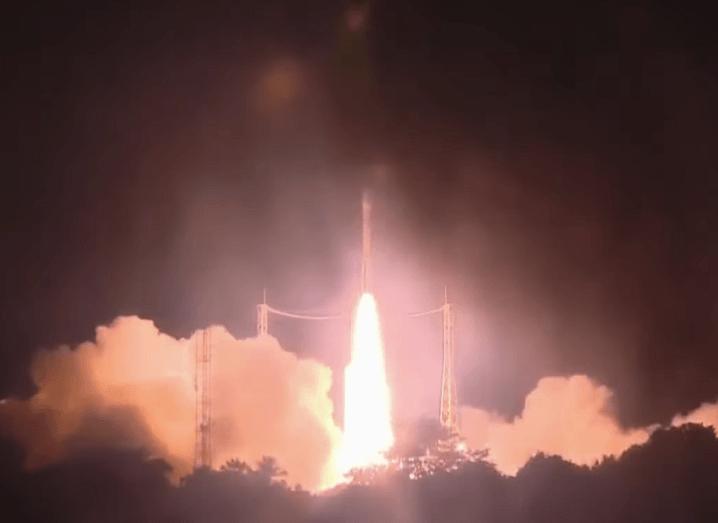 ESA's vega rocket lifts off at night.