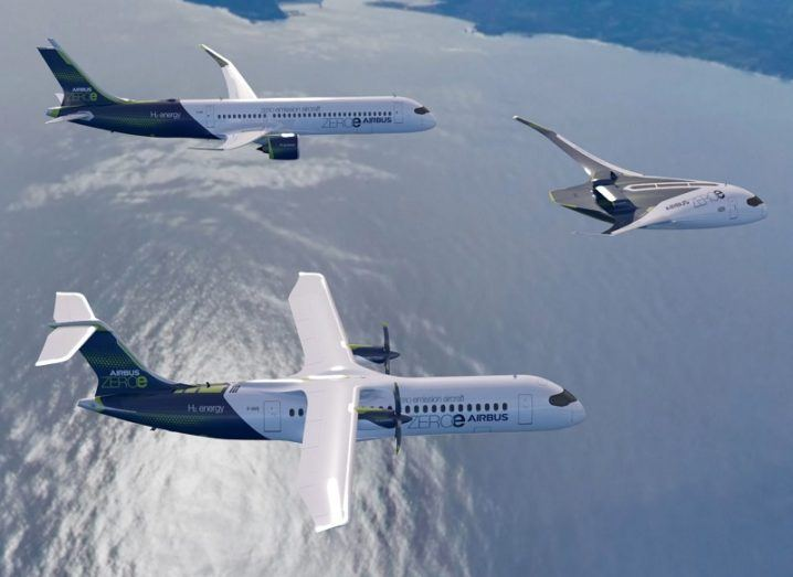 A turbojet, turboprop and blended-wing body set of aircraft flying over a sea.