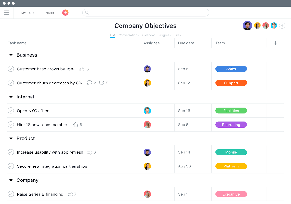 A screenshot of an Asana project, showing companies objectives and tasks for team members.