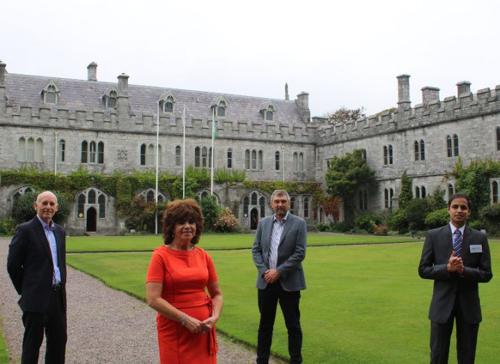 Key figures from BioPixS, UCC and Tyndall are standing on the grounds of UCC.
