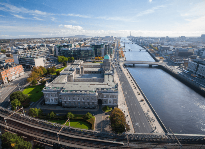 The Liffey flowing past the Custom House in Dublin city centre.