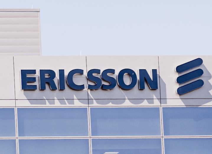 The Ericsson logo on the front of a building.