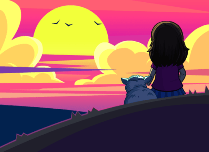 Illustration of the sun setting on FarmVille while a girl and her pet sit and watch.