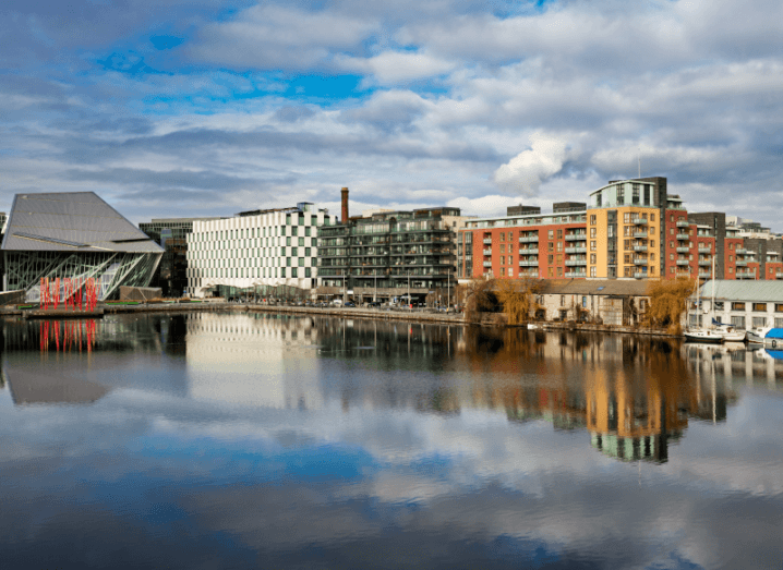 Buildings in front of a body of water in Dublin city.