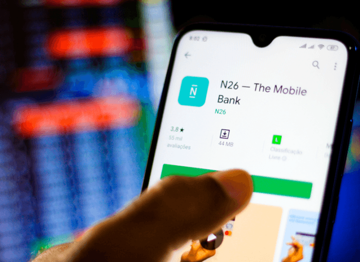 A smartphone displaying the N26 app on the Google Play Store.