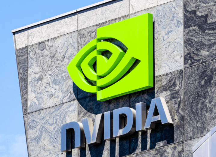 The Nvidia logo on the front of a building.