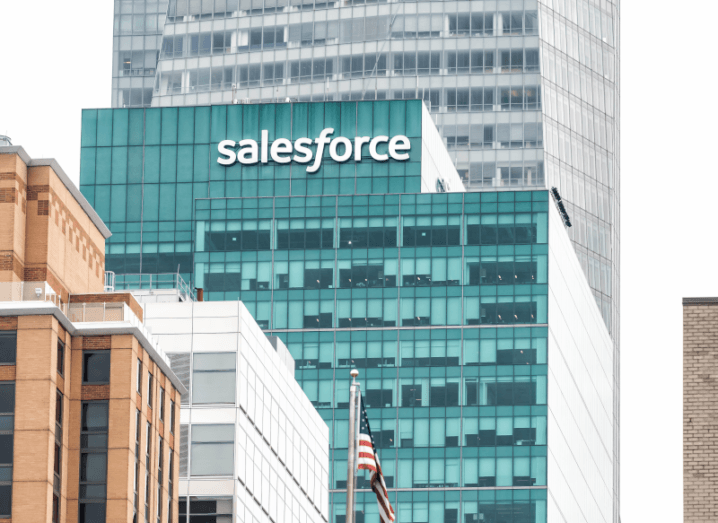 The Salesforce logo on the side of a building.