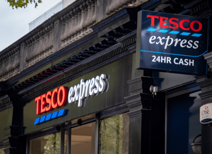 The front entrance of a Tesco Express store.