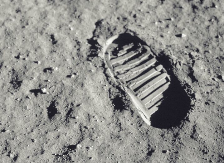 Spacesuit footprint on the moon's surface.