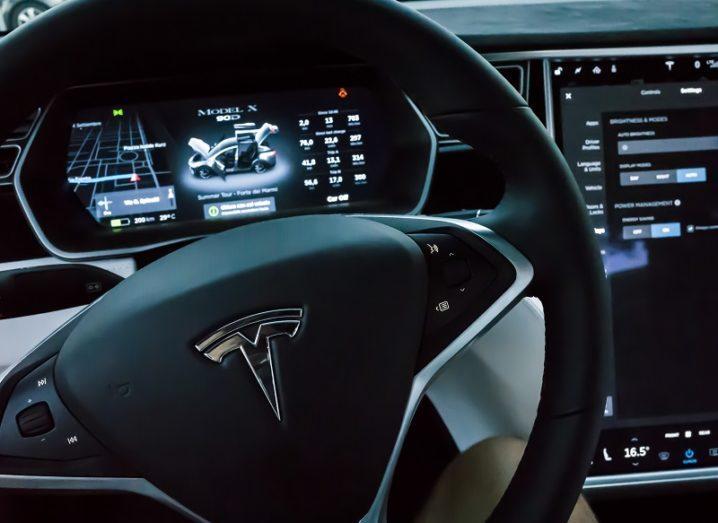 Tesla dashboard and steering wheel.