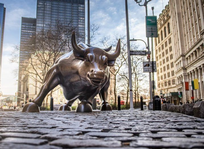 The charging bull statue outside the New York Stock Exchange.