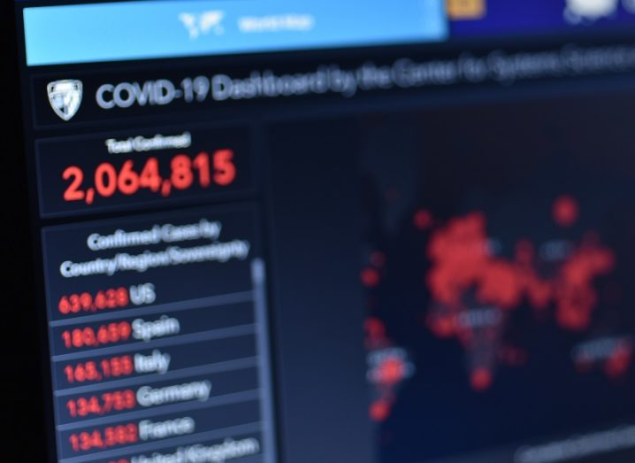 Blurred image of a screen showing Covid-19 case numbers across the globe.
