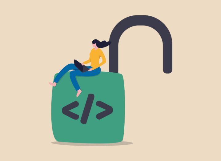An illustration of a woman on a computer sitting on top of a large open padlock.