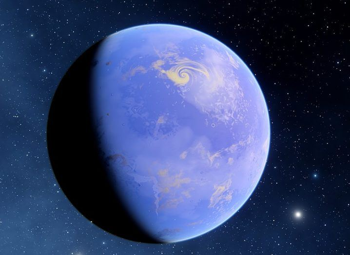 Concept image of a blue exoplanet with a huge ocean.