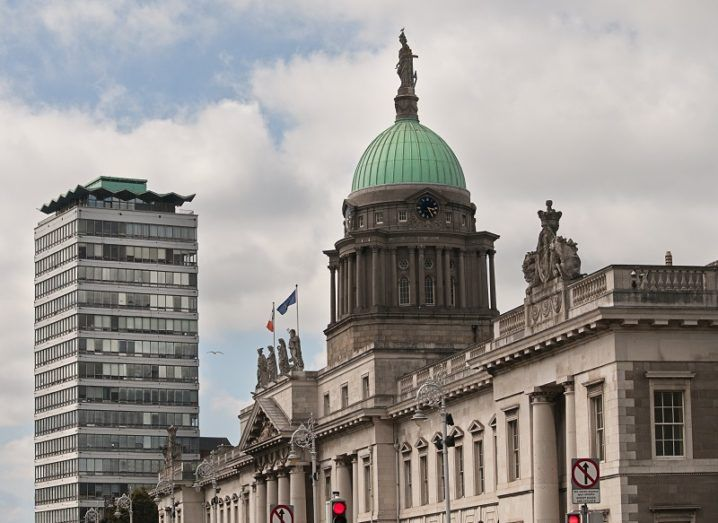 Custom House in Dublin with Liberty Hall in the background.