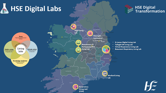 Map of Ireland showing the locations of the new Digital Living Labs.