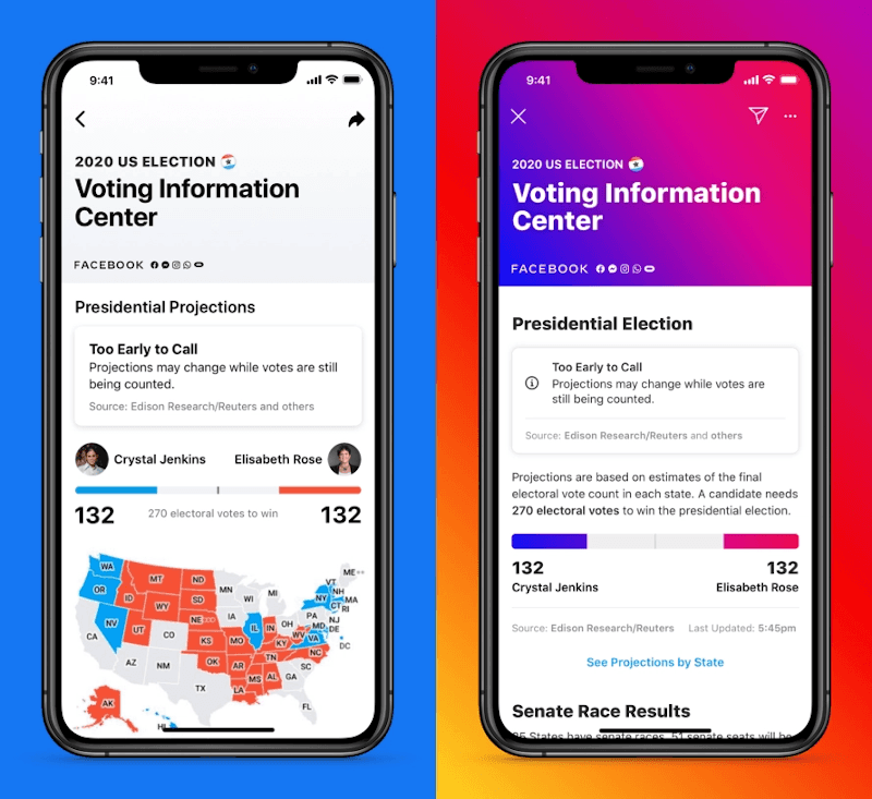 The Facebook app displaying information on the US election.