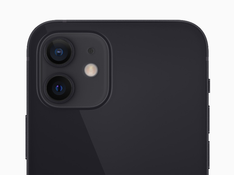 The back of a new iPhone 12 showing its dual-camera system.