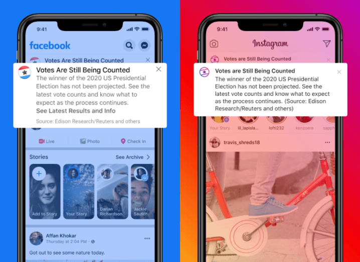 Two iPhones displaying the Facebook app which features information about the US election.