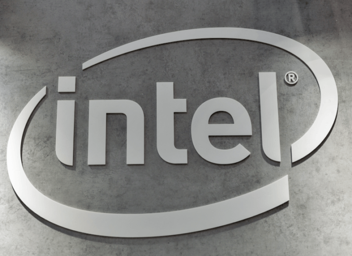The Intel logo on a wall.