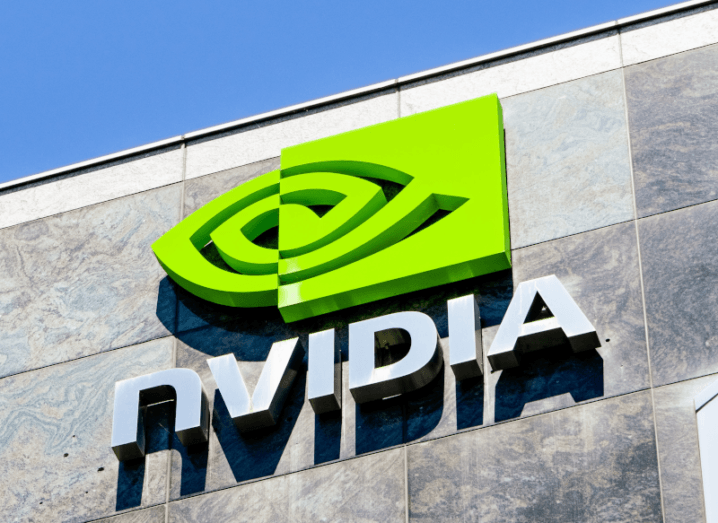 The Nvidia logo on a building.