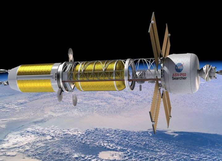 Concept image of a spacecraft using a nuclear thermal propulsion system.