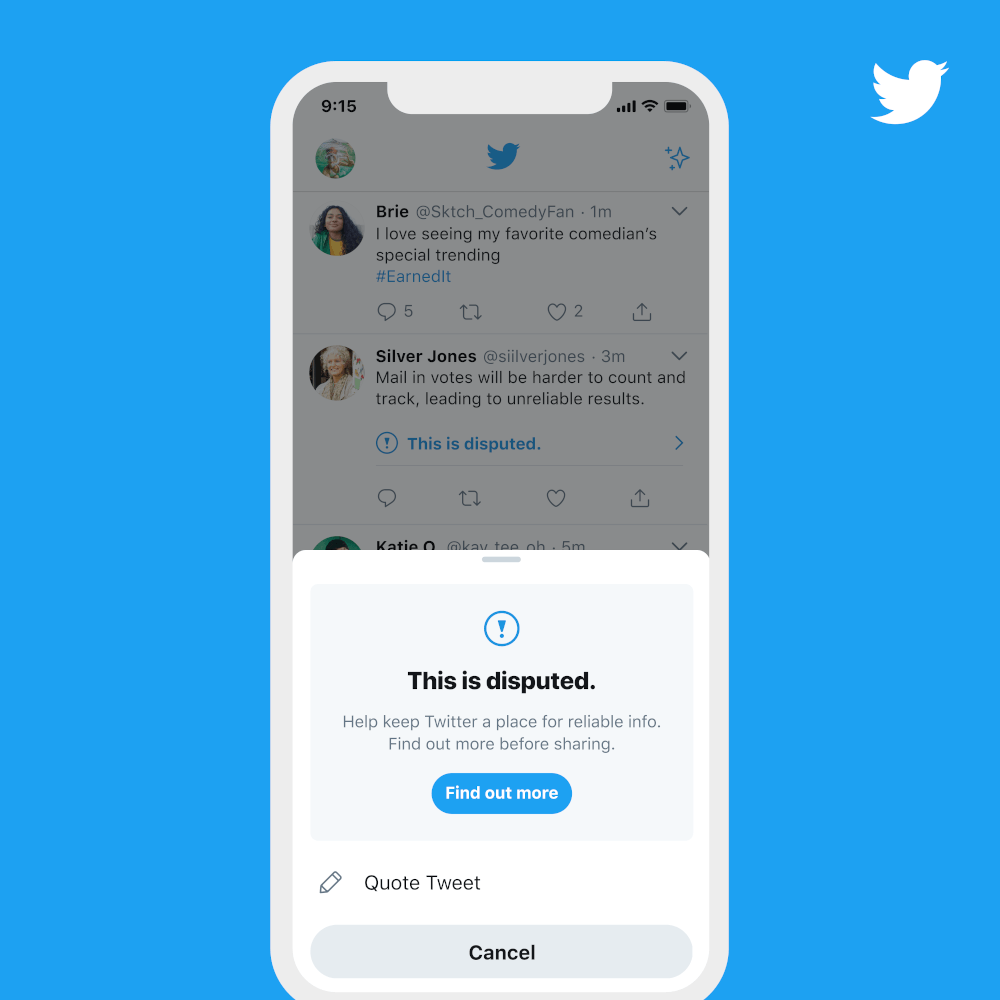 A smartphone displaying the Twitter app with a new notification about disputed information.