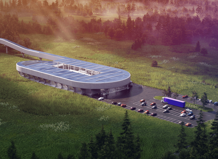 Concept drawing of the future Hyperloop Certification Center surrounded by forest.