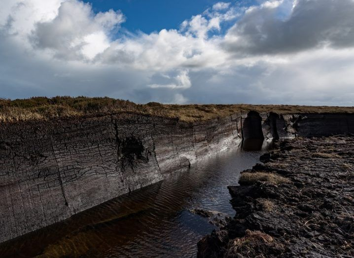 Water trench in exposed, black peatland.