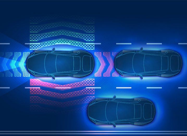 3D render of an aerial view of an automatic braking system in action near two other cars.